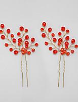 Mulheres Crostal / Liga Capacete-Ocasião Especial Alfinete de Cabelo 2 Peças Vermelho Redonde 15