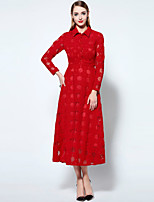 Boutique S Women's Going out Sophisticated Swing Dress,Print Shirt Collar Midi Long Sleeve Red / Green Polyester  Summer