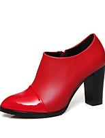 Mujer-Tacón Robusto-Tacones / Confort / Punta RedondaExterior / Oficina y Trabajo / Vestido-PU-Negro / Rojo / Blanco