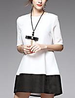 AFOLD® Women's Round Neck 1/2 Length Sleeve Above Knee Dress-5515