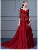 Formeller Abend Kleid Ballkleid V-Ausschnitt Pinsel Schleppe Tüll mit Applikationen / Perlstickerei / Schärpe / Band / Pailletten