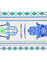 1pc Flash Metallic Waterproof Tattoo Blue Gold Silver Evil Eye Finger Hand Temporary Tattoo Sticker BYH-008