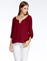 Women's Going out Simple Summer T-shirt,Solid V Neck ¾ Sleeve Red / White / Orange Polyester Thin