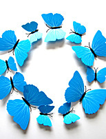 Butterfly Decals Animals / Romance / Landscape Blue 3D Wall Stickers Plane Wall Stickers,plastic 12pcs