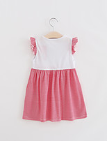 Girl's Casual/Daily Patchwork Dress,Cotton Summer Pink