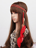 Women's Chain Weave Feather Alloy Leaves Pendant Headbands 1 peice