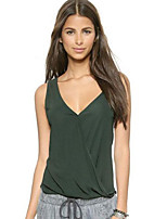 Women's Casual/Daily Sexy Summer Tank Top,Solid Strap Sleeveless Green Cotton Opaque
