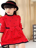 Vestido Chica de-Casual/Diario-Lunares-Algodón-Verano-Negro / Rojo