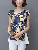 Women's Casual /Plus Size /Street chic Slim Thin Summer Chiffon Blouse,Print Short Sleeve Blue /Black Polyester Medium