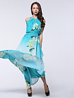 Women's Holiday / Plus Size Boho Chiffon Dress,Print Round Neck Maxi Sleeveless Blue Polyester Summer