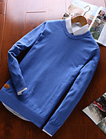 Men's Plus Size Casual/Daily Simple Active Punk & Gothic Regular Pullover,Solid Round Neck Long Sleeves Cotton All Seasons Medium