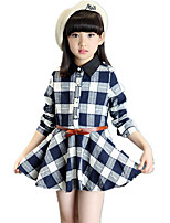 Girl's Shirt Collar Going out Check Plaid Big Swing Long Sleeve Dress