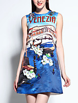 Women's Casual/Daily Street chic A Line Dress,Print Round Neck Above Knee Sleeveless Blue Cotton / Polyester Summer