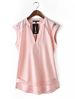 Women's Going out Simple / Street chic Summer Blouse,Solid V Neck Short Sleeve Pink / White Rayon Thin