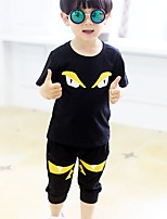 Boy's Casual/Daily Animal Print Clothing Set,Cotton Summer Black / Red / Yellow
