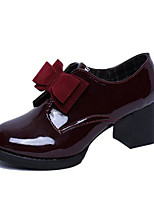 Women's Heels Summer Heels Patent Leather Casual Chunky Heel Bowknot Black / Burgundy Others