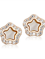 Luxurious Classic White Cubic Zirconia Party Star Shape 18k Gold Plated Stud Earrings For Women