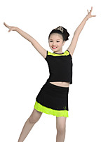 Children's Performance Linen Tassel(s) 2 Pieces Short Sleeve Natural Top / Skirt Latin Dance Outfits