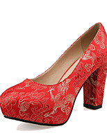 Women's Shoes Silk Chunky Heel Heels / Platform Heels Wedding / Party & Evening Red