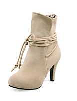 Women's Shoes Stiletto Heel Fashion Boots / Round Toe Boots Dress Black / Brown / Gray / Beige