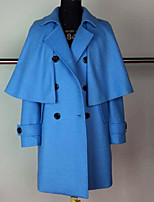 Women's Going out Cute Cloak/Capes,Solid Shirt Collar Long Sleeve Winter Blue / Orange Wool Thick