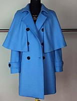 Cloak / Capes Da donna Per uscire Inverno Romantico,Tinta unita Colletto Lana Blu / Arancione Manica lunga Spesso