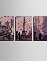 Rectangular Moderno/Contemporáneo Reloj de pared,Otros Lienzo35 x 50cm(14inchx20inch)x3pcs/ 40 x 60cm(16inchx24inch)x3pcs/ 50 x