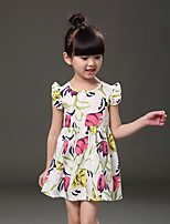 Girl's Going out Print Dress,Cotton Summer White