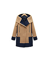 Women's Going out Simple Coat,Solid / Patchwork Hooded Long Sleeve Winter Brown Polyester Medium / Thick