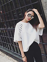 Women's Casual/Daily Simple Summer T-shirt,Solid Round Neck Short Sleeve White Cotton Medium