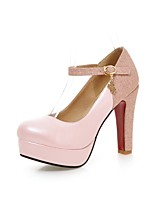 Women's Heels Summer / Fall Heels / Round Toe PU Office & Career / Casual Chunky Heel Buckle Black / Pink / White