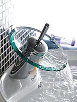 Contemporary Fashion Bathroom Glass Circle Waterfall Basin Faucet