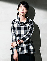 Women's Casual/Daily Simple Summer / Fall Blouse,Plaid Turtleneck Long Sleeve Gray Polyester Opaque