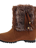 Women's Boots Winter Fashion Boots Fleece Casual Flat Heel Tassel Black / Blue / Khaki Others