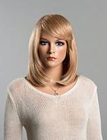 magnífica recta sedosa peluca de cabello humano medio para las mujeres