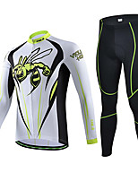 Sports Bike/Cycling Jersey + Pants/Jersey+Tights / Tops / Bottoms Men's Short Sleeve Breathable / Sweat-wicking Elastane Sport WhiteS / M
