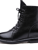 Boots Fall / Winter Combat Boots Leather Casual Low Heel Lace-up Black