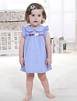 Baby Casual/Daily Solid Dress,Cotton Summer Blue / Pink