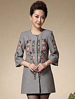Women's Formal Chinoiserie Coat,Embroidered Round Neck ¾ Sleeve Winter Black / Gray Wool Thick