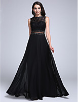 Formal Evening Dress A-line Bateau Floor-length Chiffon / Lace with Appliques / Beading / Lace