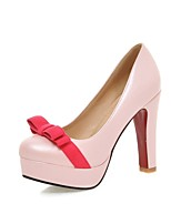 Women's Heels Summer / Fall Heels / Round Toe PU Office & Career / Casual Chunky Heel Bowknot Black / Pink / White