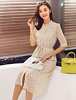Wake Up® Women's Round Neck 3/4 Length Sleeve Tea-length Dress-L16209