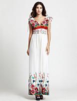 Women's Beach / Plus Size Boho Swing Dress,Print Deep V Maxi Sleeveless White Polyester Summer