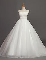 Ball Gown Wedding Dress-Ivory Chapel Train Sweetheart Tulle