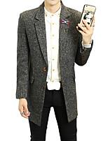 2016 new winter men's slim long Korean woolen coat lapel male boom in leisure