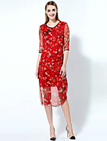 Boutique S Women's Going out Chinoiserie Sheath Dress,Print Round Neck Midi ¾ Sleeve Red / Green Polyester Summer