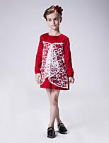 Robe Fille de Couleur Pleine Décontracté / Quotidien Coton Printemps / Automne Vert / Rouge
