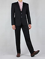 Suits Tailored Fit Notch Single Breasted Two-buttons Solid 2 Pieces Straight Flapped None Black None