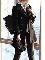 Women's Casual/Daily Simple Coat,Solid Notch Lapel Long Sleeve Winter Beige / Black / Gray Cotton Thick