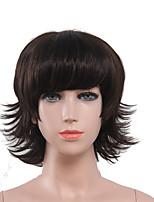 perruque courte naturelle capless couleur noire de haute qualité bouclés synthétique